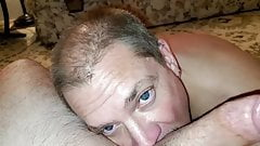 Sucking a guy off and eating his cum