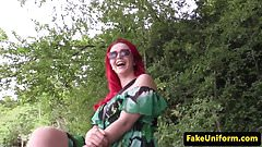 Busty redhead brit fucked outdoors by cop