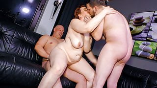 Mature SWINGER BBW Wife Cathrin Invites Young Guy For Threeway Sex