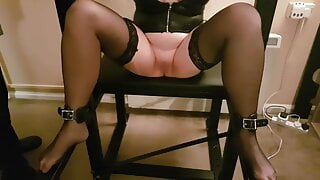 Dirty Little Sluts Massive Orgasm with wand on BDSM bench