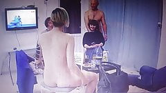 Naked couples have guests at home