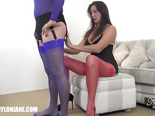Sexy nylon - Gimp slave worships milfs sexy nylon covered feet and legs