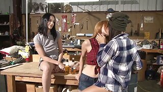 Group of dirty young lesbians - garage orgy – lesbian threesome
