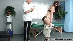 butty Holly Michaels Massage babe doggystyled on massage table first anal