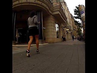 Fisting in street - Hot business milf walking in street
