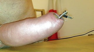 Hard electro session on pumped cock