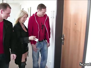 Smoking mother fucks her son - Two german friends of her son seduce his mother to fuck