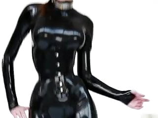 Cute sexy models - Cute model - latex catsuit ballet boots