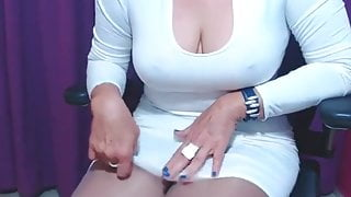 Busty Mature Woman In Tight Dress And Pantyhose Tease