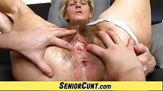 Close-ups of hairy old pussy of czech granny Hana