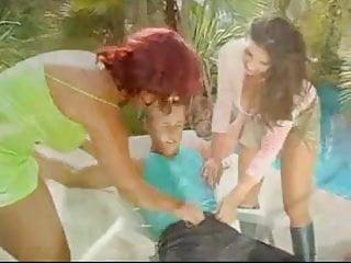 Two girls guy fucking Guy fucking two busty girls outdoors ffm