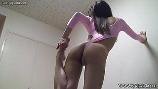 Japanese Girl High Leg Leotard Wedgie