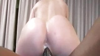 Blonde gets horny watching porn and gets nailed