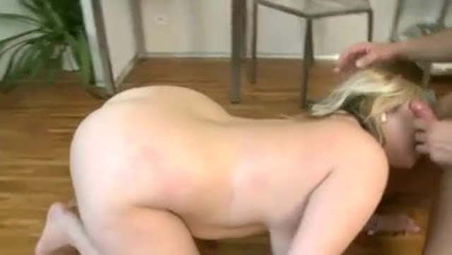 chubby big tit amateur on knees sucking cock