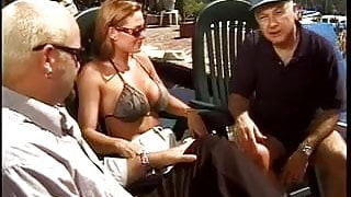 Young wife gets on her knees and blows another guy while her husband watches