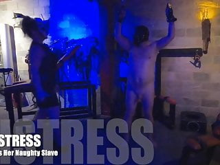 Seth hoisted and spanked Cfnm mistress inspects her hoisted femdom sissy slave