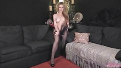 Hot blonde strip teases then fingers that pussy