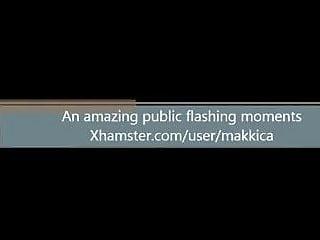 Amateur gf flashing - Shy nerdy gf flashing near public road