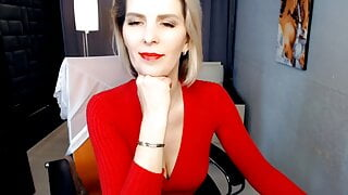 Slim blonde mature shows herself on camera