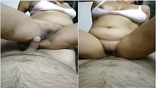 Horny wife riding husbands dick big boobs milf