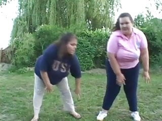 Fat lesbians hardcore Two fat lesbians have at it outdoors