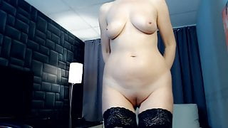 Blonde woman shows her naked body
