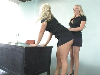 Smoking hot lesbians Smoking hot cleaner babes fuck in an office during work