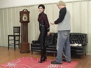 Bondage breast rope Jeans tight ropes shiny boots.