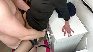Sex at a party. A girl in stockings fucks with a guy