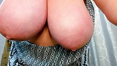 Chubby milf plays with huge boobs