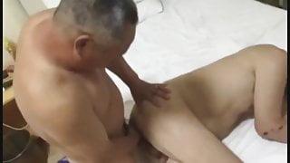 Three older chinese men have sex