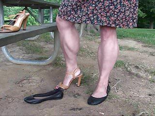 Leg mature woman Showing muscular legs