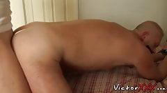 Mature man raw impales his lover and makes him spray his cum