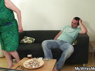 Motherinlaw sex Busty motherinlaw jumps on his cock