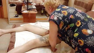 penis massage and blowjob with cum in mouth