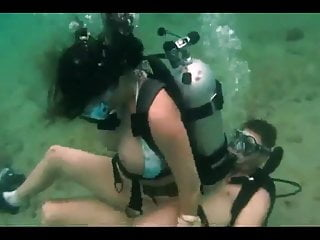 Ocean sex underwater - Scuba diving couple having sex underwater