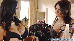 Busty glam femdoms doggystyling tiedup voyeur