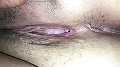 Fingering my wifes hairy wet pussy