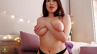 Chubby Asian girl with big tits jerking on camera, sex toys