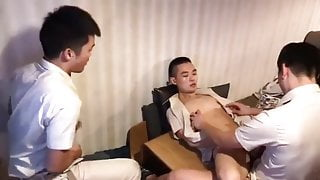 Chinese young boys after work threesome