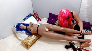 Fat Pervert Spanks Herself And Her Doll