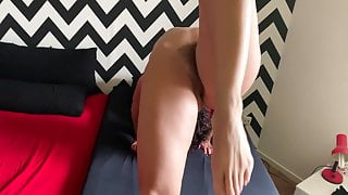 A short yoga training session with Nazli Amcik on the bed