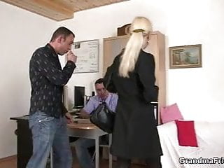 Wife seduces guy for threesome - Two guys seduce old blonde