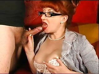 Drunk mature blow job Red give amazing sloppy blow job to completion