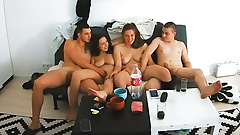 Young Real Swinger Couples Start Foursome Group Action