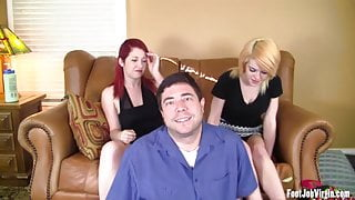 Two amateur girls give a footjob to a guy until he cums