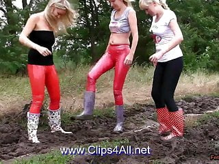 Girl in wellies porn - Trailer - 3 girls in slinkystylez and wellies