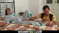 Young guy doggy-fucks injured old grandma