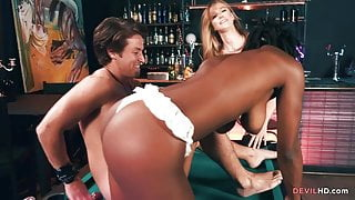 Lesbian chicks go threesome with a guy