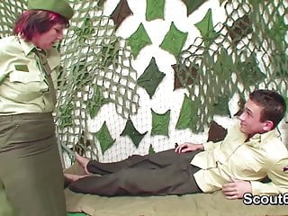 Gay army video previews 56yr old german army granny officer fucks 18yr young cadets